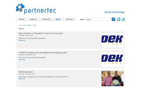 Screenshot of Press Page partnertec.nl - News - Partnertec - captured Oct. 2, 2014