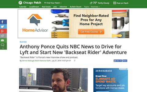 Screenshot of patch.com - Anthony Ponce Quits NBC News to Drive for Lyft and Start New 'Backseat Rider' Adventure - Chicago, IL Patch - captured Aug. 1, 2016