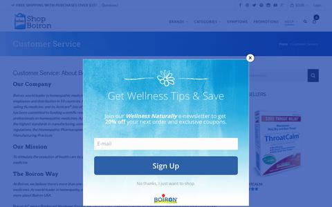 Screenshot of About Page boironusa.com - Customer Service | Boiron USA Shop - captured Oct. 31, 2018