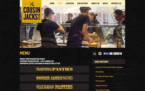 Screenshot of Menu Page cousinjackspastyco.com - Menu | Cousin Jacks Pasty Co. - captured Sept. 30, 2014