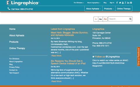 Screenshot of Products Page aphasia.com - Products - Lingraphica Lingraphica - captured Oct. 22, 2014