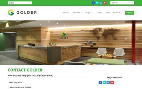 Screenshot of Contact Page golder.com - Contact | Golder - captured Jan. 30, 2018