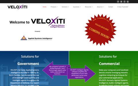 Screenshot of Home Page veloxiti.com - VELOXITI, Inc. - Formerly Applied Systems Intelligence, Inc. - captured Feb. 17, 2016