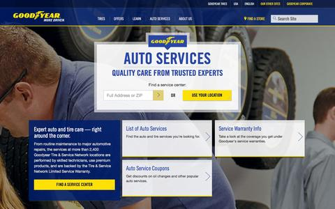Screenshot of Services Page goodyear.com - Auto Services | Goodyear Tires - captured Sept. 18, 2014