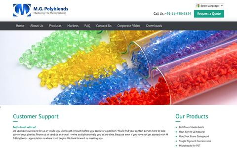 Screenshot of Support Page mg-polyblends.com - Customer Support | MGP - captured May 26, 2017