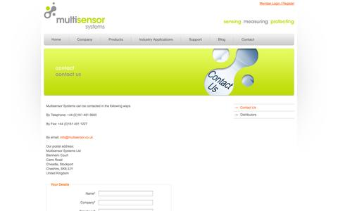 Screenshot of Contact Page multisensor.co.uk - Contact information including address, telephone, email - captured Oct. 7, 2014