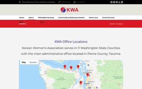 Screenshot of Locations Page kwacares.org - Locations - Korean Women's Association - captured Oct. 14, 2018
