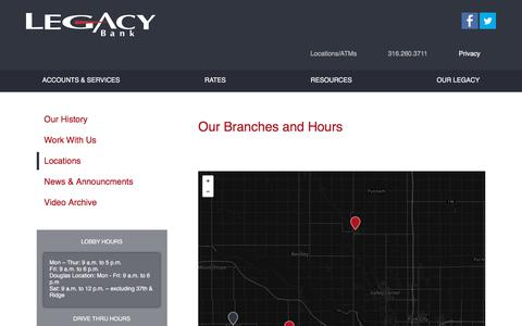 Screenshot of Locations Page legacy-bank.com - Branch & ATM Locations - captured July 17, 2018