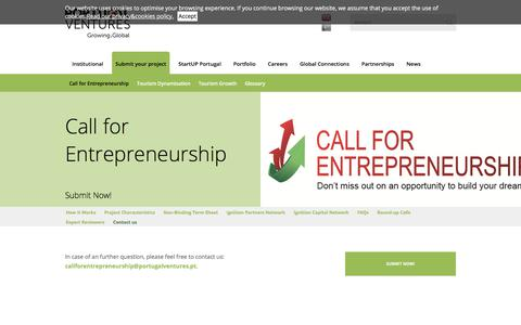 Screenshot of Contact Page portugalventures.pt - Call for Entrepreneurship | Portugal Ventures - captured June 23, 2017