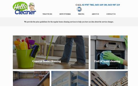 Screenshot of Pricing Page hellocleaner.com.au - Price for Cleaning Services - Hello Cleaner - captured July 18, 2018