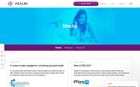 Screenshot of Press Page healbe.com - Health & Workout whristband reviews | GoBe Band Media - captured Oct. 26, 2018