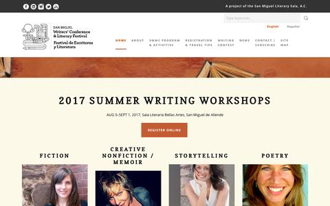 Screenshot of Home Page sanmiguelwritersconference.org - 2017 SMWC - San Miguel Writers' Conference - captured May 25, 2017