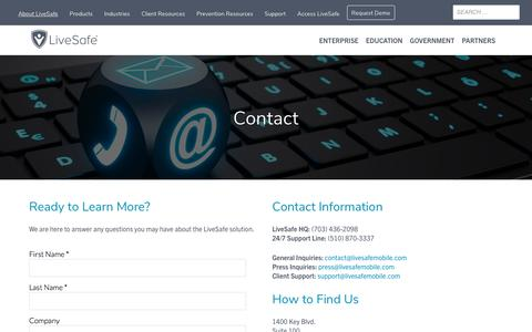 Screenshot of Contact Page livesafemobile.com - Contact us to learn more about powering prevention in your community | - captured Aug. 8, 2019