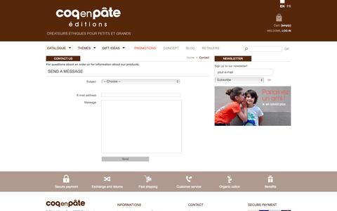 Screenshot of Support Page coqenpate.com - Contact us - Coq en Pâte - captured Nov. 4, 2014