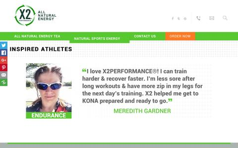 Screenshot of Testimonials Page x2performance.com - Inspired Athletes | X2 Natural Energy - captured Feb. 5, 2016