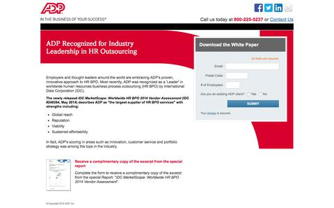 Screenshot of Landing Page adp.com - Industry Leadership and HR Outsourcing | IDC MarketScape HR BPO 2012 - captured Aug. 18, 2016