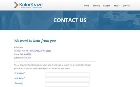 Screenshot of Contact Page kolorkraze.com - Contact Us | Full Range Print Company | KolorKraze - captured Oct. 17, 2017