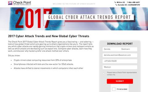 Screenshot of Landing Page checkpoint.com - Global Threat Intelligence Trend Report for 2017 H2 | Check Point Software - captured April 14, 2018