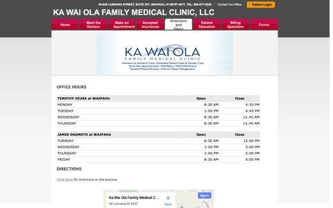 Screenshot of Maps & Directions Page kwofmc.com - KA WAI OLA FAMILY MEDICAL CLINIC, LLC - captured Oct. 6, 2014
