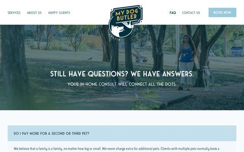 Screenshot of FAQ Page austindogbutler.com - The 8 Most Common Questions for Dog Walking Services in Austin - captured July 31, 2018