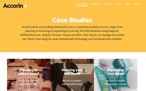Screenshot of Case Studies Page accorin.com - Accorin Case Studies | Magento and Shopify Examples - captured Dec. 23, 2015