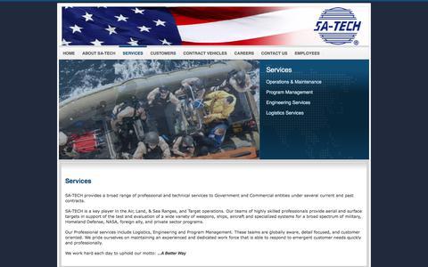 Screenshot of Services Page sa-techinc.com - Services - captured Sept. 20, 2017