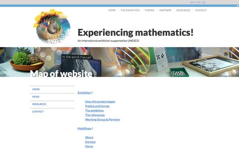 Screenshot of Maps & Directions Page mathex.org - Experiencing mathematics! MathExpo/Map of website - captured April 10, 2017