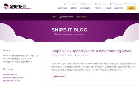Screenshot of Blog Press Page snipeitapp.com - Blog - Snipe-IT Free open source IT asset management - captured Sept. 27, 2018