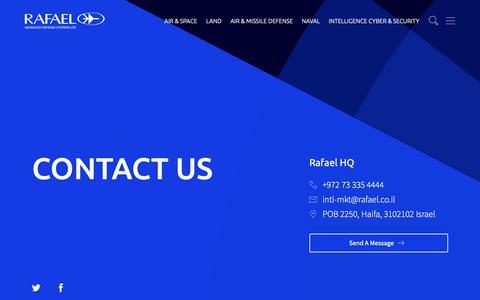 Screenshot of Contact Page rafael.co.il - Contact Us – Rafael - captured May 16, 2019