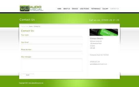 Screenshot of Contact Page gbaudiovisual.co.uk - Contact GB Audio Visual, AV Hire and PA Hire, Croydon, London, UK | GB Audio Visual - captured Sept. 26, 2014