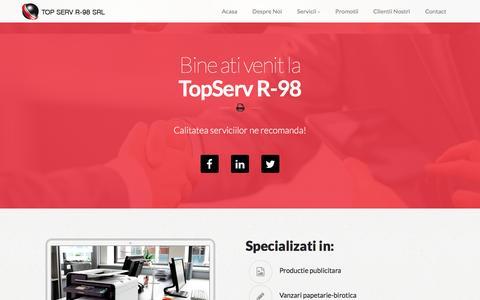 Screenshot of Home Page topserv.ro - TopServ R-98 - captured Feb. 17, 2016