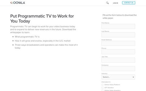 Screenshot of Landing Page ooyala.com - Put Programmatic TV to Work for You Today - Free White Paper - captured April 16, 2016