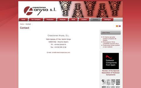 Screenshot of Contact Page creacionesanysa.com - Contact - Creaciones Anysa - captured Sept. 30, 2014
