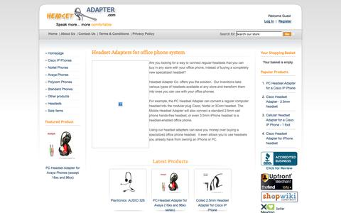 Screenshot of Home Page headsetadapter.com - Headset Adapters for your phone systems. - Headset Adapter Co. - captured Oct. 2, 2014