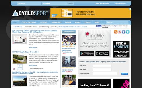 Screenshot of Home Page cyclosport.org - The definitive British cycling events and UK cyclo sportive calendar 2014 | Cyclosport - captured Sept. 23, 2014