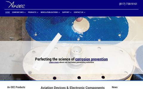 Screenshot of Home Page avdec.com - Home | Av-DEC Aviation Devices & Electronic Components, Corrosion Preventing Aircraft Gaskets, Tapes, Sealants - captured Oct. 9, 2017