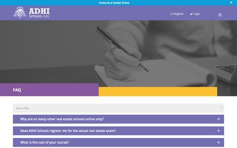 Screenshot of FAQ Page adhischools.com - FAQ : Real Estate Broker : ADHIschools.com - captured Nov. 20, 2016