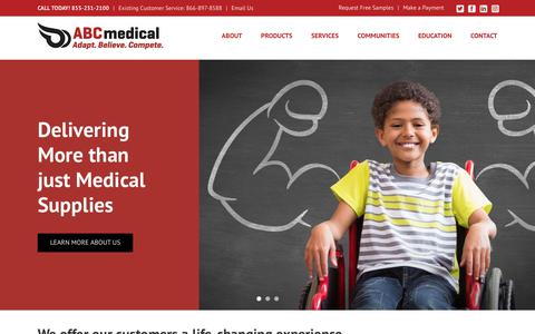 Screenshot of Home Page abc-med.com - ABC Medical | Urology, Ostomy, Incontinence, Wound Care Supplies, and Bowel Management Programs - captured Nov. 12, 2018