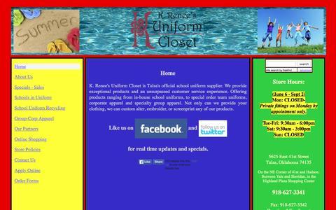 Screenshot of Home Page uniformcloset.com - K. Renee's Uniform Closet - captured June 18, 2016