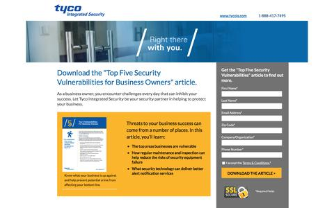 Screenshot of Landing Page tycois.com - Tyco Integrated Solutions - captured Feb. 28, 2017
