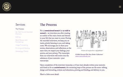 Screenshot of Services Page modernmemoirs.com - The Process — Modern Memoirs, Inc. - captured Sept. 20, 2018