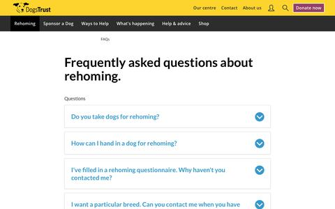 Screenshot of FAQ Page dogstrust.ie - Rehoming & Adoption FAQs   Dogs Trust - captured Jan. 17, 2018
