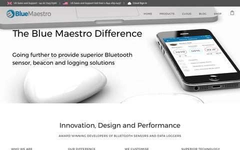 Screenshot of About Page bluemaestro.com - Blue Maestro difference for Bluetooth sensors and data loggers - Blue Maestro - captured June 1, 2017