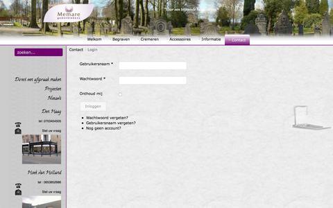 Screenshot of Login Page memare.nl - Login - captured Jan. 9, 2016