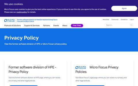 Screenshot of Privacy Page microfocus.com - Privacy Policy - captured June 23, 2018