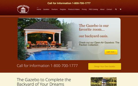 Screenshot of Home Page amishgazebos.com - America's Best Gazebo and Pavilion | Amish Country Gazebos - captured Sept. 19, 2014