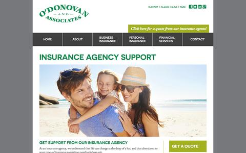 Screenshot of Support Page odonovaninsurance.com - Insurance Agency Support – O'Donovan Insurance - captured Feb. 22, 2016
