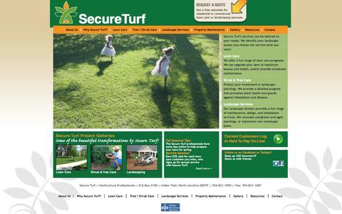 Screenshot of Home Page secureturf.com - SecureTurf Lawn Care - Lawn Maintenance Charlotte Matthews Ballantyne Mint Hill Monroe - captured Oct. 4, 2014