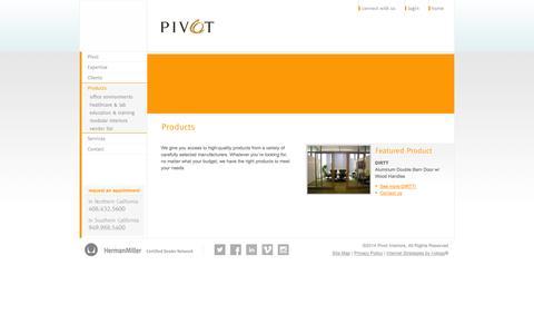Screenshot of Products Page pivotinteriors.com - Products | Pivot Interiors - captured Sept. 30, 2014