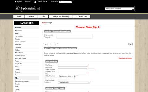 Screenshot of Login Page hairbydanieldavid.com - Login : Outlet Sale 2017,Accessories,Flat Sandals,Ballerinas | clearance for sale - captured Oct. 9, 2018